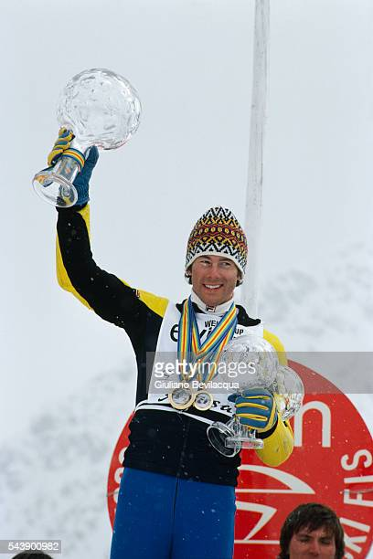 Swedish Ingemar Stenmark with his three Globes won this year He won the Overall World Cup title and Giant Slalom and Slalom
