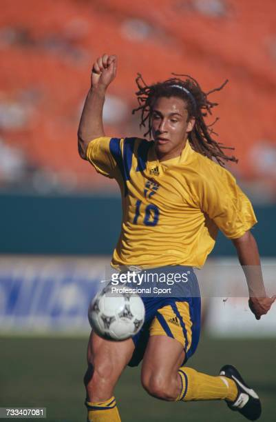 Swedish international footballer Henrik Larsson pictured in action playing for the Sweden national team in an international match in 1994
