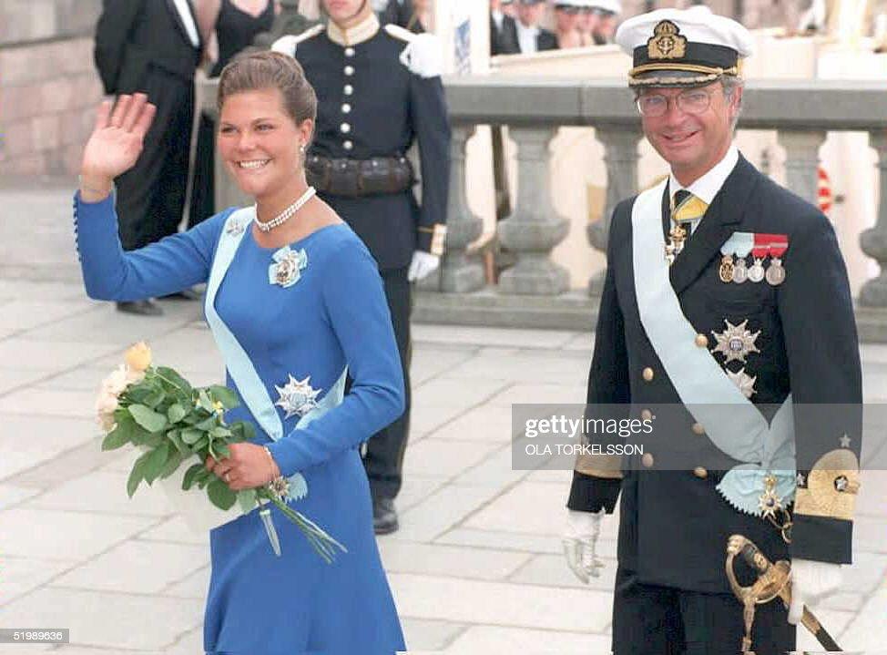 Swedish King Carl Gustav looks on as his daughter, : News Photo