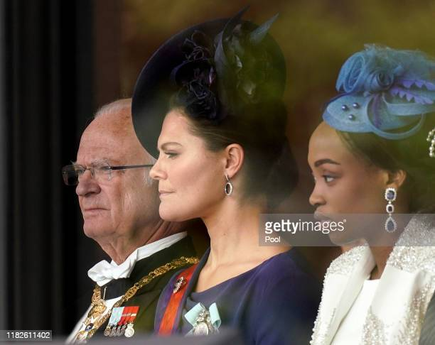 Swedish King Carl XVI Gustaf and his daughter Crown Princess Victoria attend the enthronement ceremony of Japanese Emperor Naruhito proclaiming his...