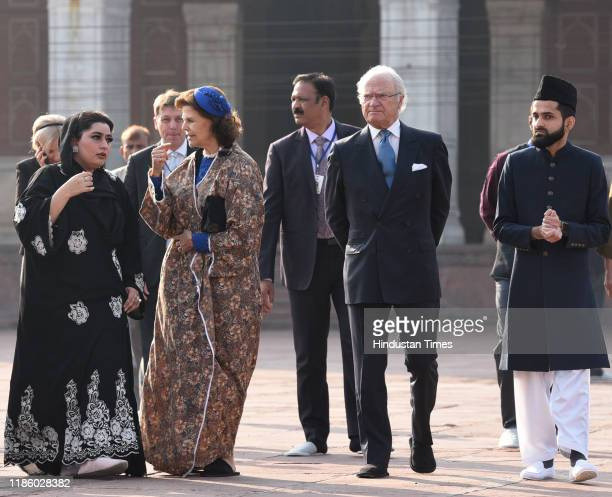 Swedish King Carl XVI Gustaf and Queen Silvia along with others seen at Jama Masjid on December 2, 2019 in New Delhi, India.