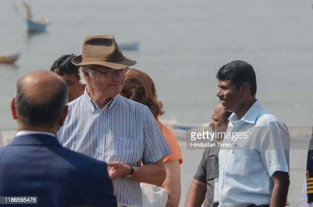 Swedish King Carl XVI Gustaf and Queen Silvia participate in beach cleanup with Environmentalist Afroz Shah at Versova on December 4 2019 in Mumbai...