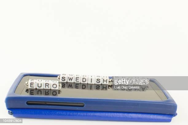swedish krona (sek) to  euro (eur)  currency converter - スウェーデン通貨 ストックフォトと画像