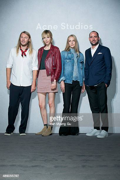 Swedish Mattias Magnusson CEO of Acne Studio Super model Edie Campbell Olivia Campbell and Mikael Schiller Chairman of Acne Studio attend the launch...