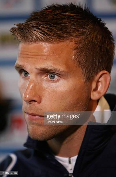 Swedish midfielder Anders Svensson talks to members of the media following a training session at the Swedish training camp in Lugano Switzerland on...