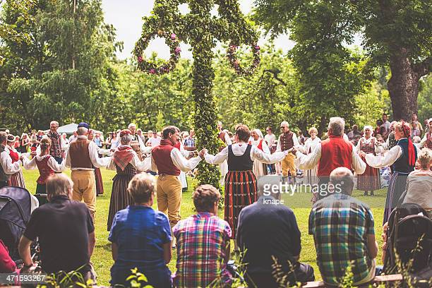 swedish midsummer celebration - midsommar stock pictures, royalty-free photos & images
