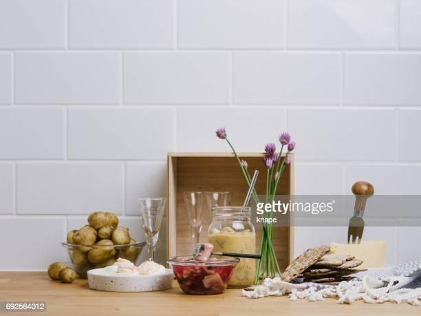 Zweedse Midsummer voedsel Svensk midsommar mat