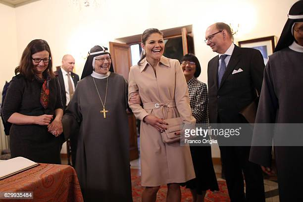 Swedish Minister of Education Anna Ekstrom and Princess Victoria of Sweden visit The Birgitta Sisters in Rome at the convent Church of Santa Brigida...