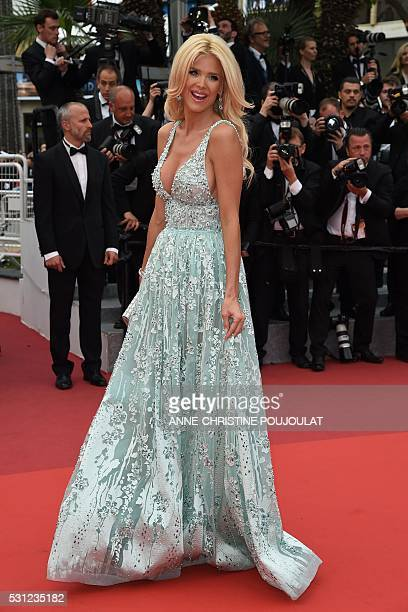 Swedish model and actress Victoria Silvstedt poses on May 13 2016 as she arrives for the screening of the film 'Ma Loute ' at the 69th Cannes Film...