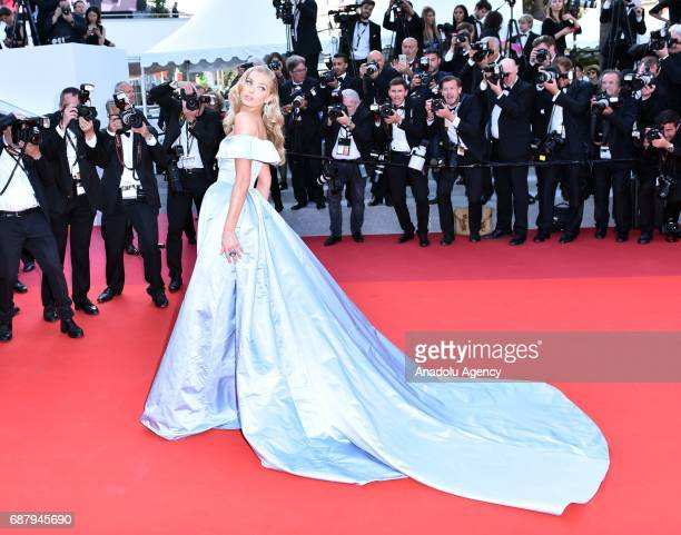 Swedish model Elsa Hosk arrives for the premiere of the film The Beguiled in competition at the 70th annual Cannes Film Festival in Cannes France on...