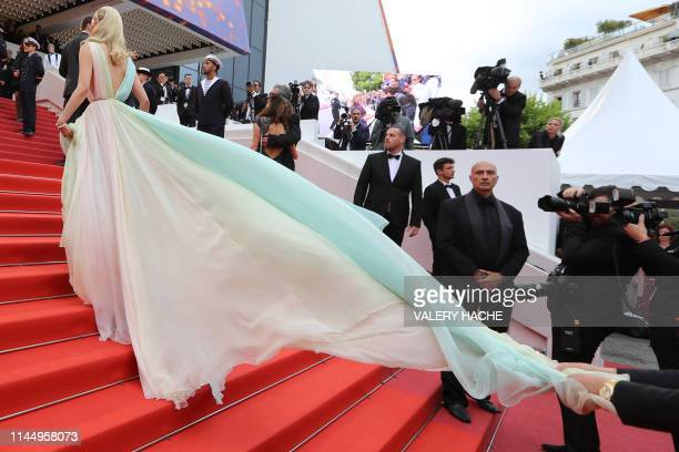 """Swedish model Elsa Hosk arrives for the screening of the film """"A Hidden Life"""" at the 72nd edition of the Cannes Film Festival in Cannes, southern..."""
