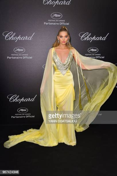 Swedish model Elsa Hosk poses as she arrives on May 11 2018 for the Chopard party on the sidelines of the 71st edition of the Cannes Film Festival in...