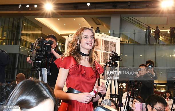 Swedish model Frida Gustavsson attends the promotional event for the 'Resveratrol Water' at Marucube on January 11 2017 in Tokyo Japan