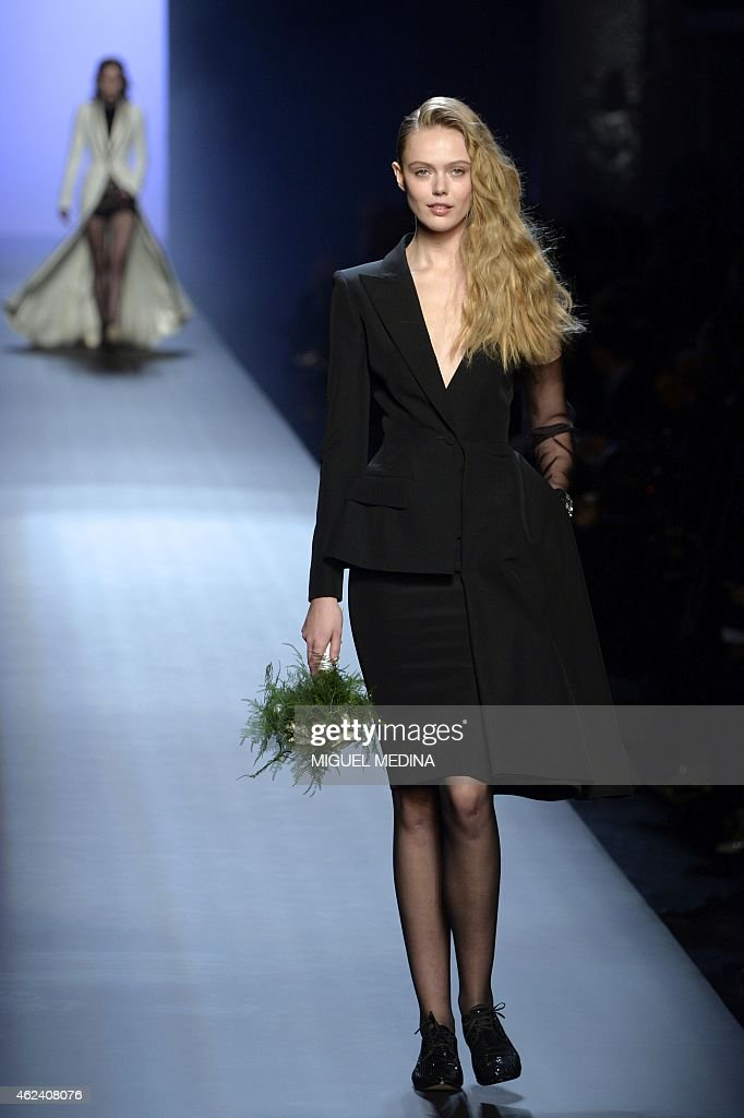 Swedish model Frida Gustavsson presents a creation by Jean Paul Gaultier during the 2015 Haute Couture Spring-Summer collection fashion show on January 28, 2015 in Paris.