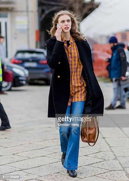Swedish model Hedvig Palm wearing a black wool coat seen outside Gucci during Milan Fashion Week Fall/Winter 2016/17 on February 24 2016 in Milan...