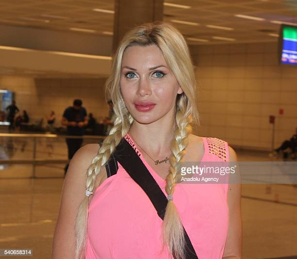 Swedish model Pixee Fox who has 17 surgeries and has six ribs removed to look like a cartoon character poses at Ataturk International Airport during...