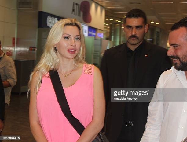 Swedish model Pixee Fox who has 17 surgeries and has six ribs removed to look like a cartoon character is seen at Ataturk International Airport...