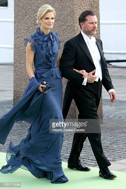 Swedish model Vicky Andren and Gustaf Magnuson depart for the travel by boat to Drottningholm Palace for dinner after the wedding of Princess...