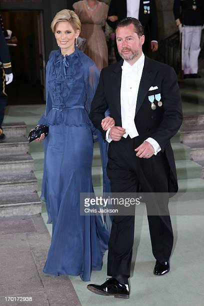 Swedish model Vicky Andren and Gustaf Magnuson depart from the wedding ceremony of Princess Madeleine of Sweden and Christopher O'Neill hosted by...
