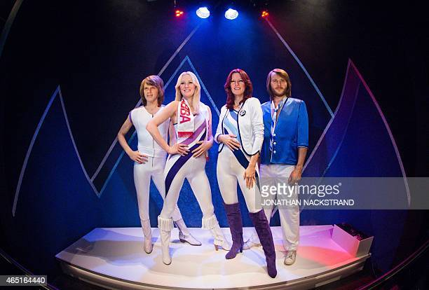 Swedish music band ABBA's new wax figures are disclosed on March 3 2015 at the ABBA museum in Stockholm Sweden AFP PHOTO/JONATHAN NACKSTRAND