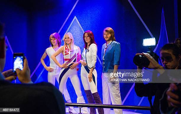 Swedish music band ABBA's new wax figures are presented on March 3 2015 at the ABBA museum in Stockholm Sweden AFP PHOTO/JONATHAN NACKSTRAND