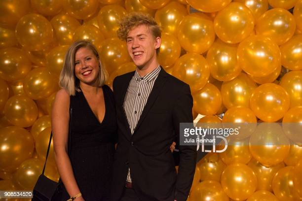 Swedish musician Kalle Johansson and his sister arrive at the P3 Guld Gala Swedish Radio's celebration of the best in Swedish Music on January 20...