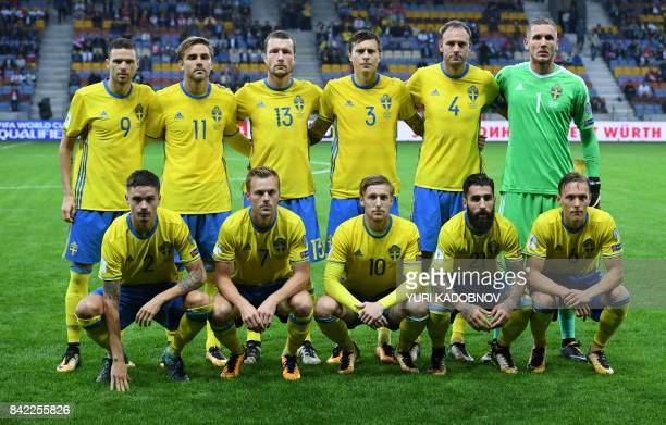 Swedish national football team players BACK ROW Marcus Berg Christoffer Nyman Jakob Johansson Victor Lindelof Andreas Granqvist and Robin Olsen FRONT...