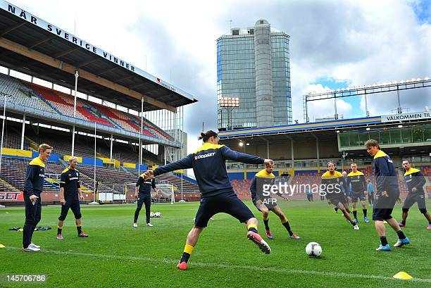 Swedish national football team players take part in a training session at the Rasunda stadium in Stockholm Sweden on June 4 ahead of their friendly...