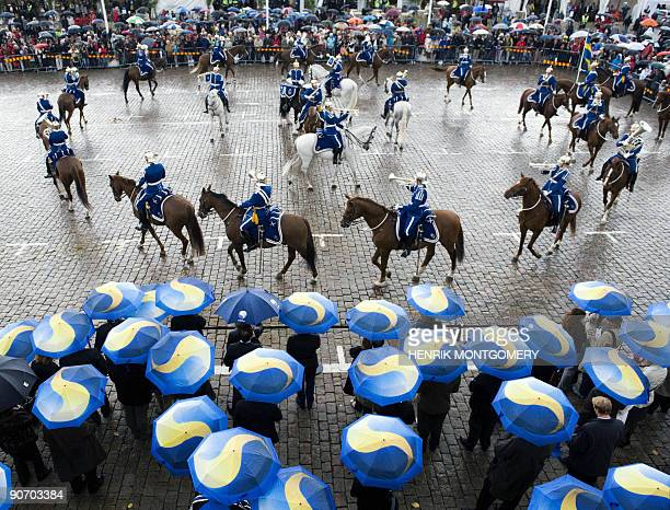 Swedish national mounted guard perform during an inauguration ceremony of a European Union informal meeting of agriculture and fisheries ministers in...