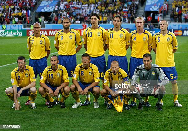 Swedish national soccer team players Mikael Nilsson Daniel Andersson Anders Svensson team captain Fredrik Ljungberg goalkeeper Andreas Isaksson...