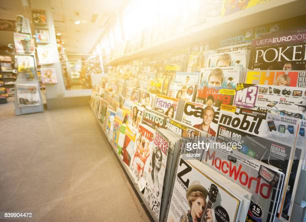 swedish news stand, mixed magazines - magazine stock pictures, royalty-free photos & images