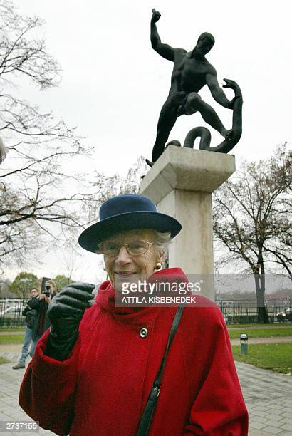 Swedish Nina Lagergren poses for photographers17 November 2003 in front of the monument of her brother Raoul Wallenberg a Swedish diplomat who saved...