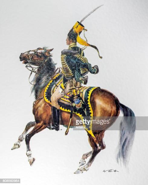 Swedish officer on horseback in uniform of the 1837 Hussar regiment 'Kronprinz'