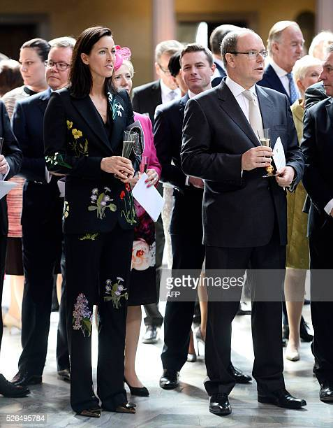 Swedish Olympic swimming champion Therese Alshammar and Prince Albert of Monaco attend the 70th anniversary celebrations for King Carl Gustaf of...