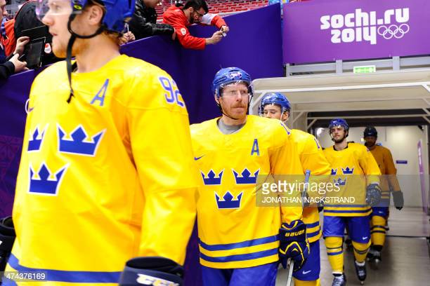 Swedish players arrive for the Men's ice hockey final Sweden vs Canada at the Bolshoy Ice Dome during the Sochi Winter Olympics on February 23 2014...