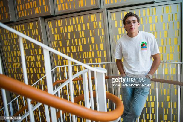 Swedish pole vaulter and current world record holder Armand Duplantis poses for a portrait following a press conference on May 10 ahead of a Diamond...