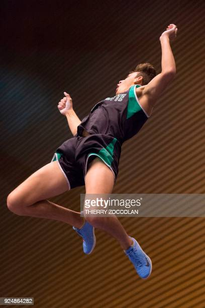 Swedish pole vaulter Armand Duplantis performs during the All Star Perche international athletics indoor meeting at the Maison des Sports in Clermont...