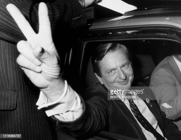 Swedish politican Olof Palme makes the victory sign after the Socialdemocrats election victory September 19 1982 Swedish prosecutors will announce on...