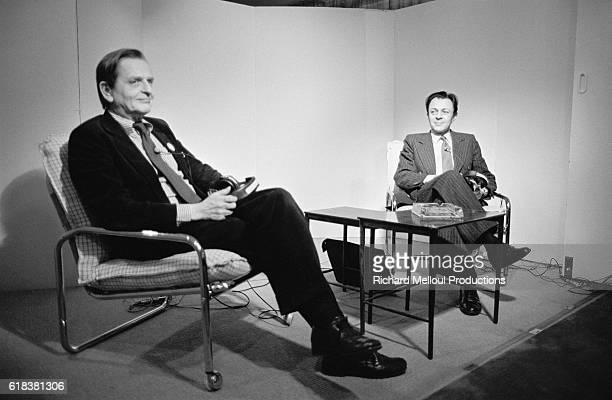 Swedish politician Olof Palme and French politician Michel Rocard take part in a radio show on the France Culture radio channel The show was on the...