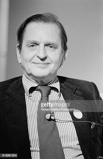 Swedish politician Olof Palme takes part in a radio show on the France Culture radio channel The show was on the topic of freedom in Social...