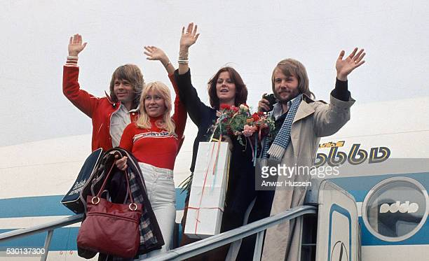 Swedish pop group ABBA arrive for a tour of the USA on October 01 1976 in the USA