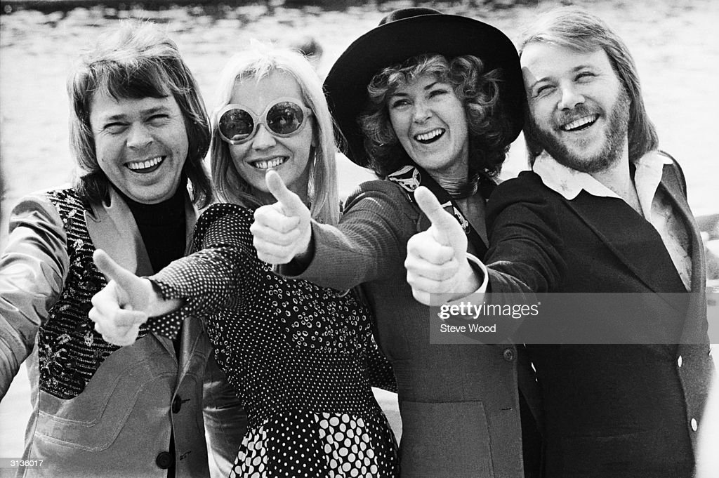 Swedish pop group ABBA give the thumbs up after winning the Eurovision Song Contest with their song 'Waterloo', Brighton, 7th April 1974. Left to right: Bjorn Ulvaeus, Agnetha Faltskog, Anni-Frid Lyngstad and Benny Andersson.