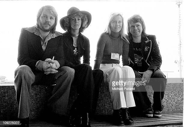 Swedish pop group ABBA in Brighton, East Sussex, for the Eurovision Song Contest, April 1974. The group won the contest with their song 'Waterloo'....