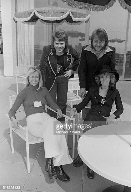 Swedish pop group ABBA in Brighton East Sussex for the Eurovision Song Contest April 1974 The group won the contest with their song 'Waterloo'...