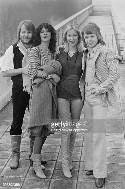 Swedish pop group Abba in London on 16th February 1977 From left to right Benny Andersson AnniFrid Lyngstad Agnetha Faltskog and Bjorn Ulvaeus
