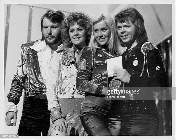 Swedish pop group Abba on stage, after winning the Eurovision Song Contest, Brighton, England, April 7th 1974.