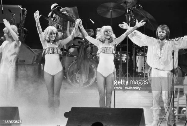 Swedish pop group ABBA on stage at the Royal Albert Hall, London, UK, 15th February 1977.