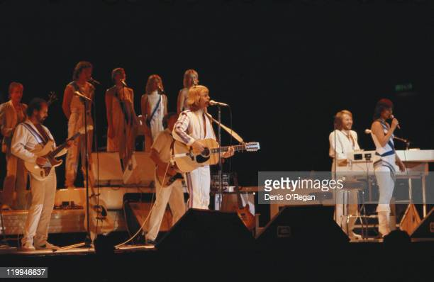 Swedish pop group Abba performing on their third and final tour 1979 From centre left to right Bjorn Ulvaeus Benny Andersson and AnniFrid Lyngstad
