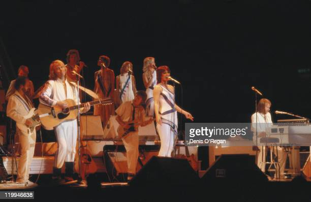 Swedish pop group Abba performing on their third and final tour 1979 Foreground left to right Bjorn Ulvaeus AnniFrid Lyngstad and Benny Andersson