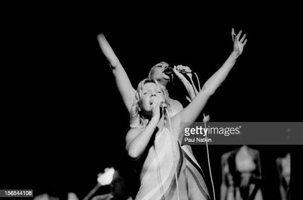 Swedish pop group Abba performs at the Auditorium Theater Chicago Illinois September 30 1979 Pictured are Agnetha Faltskog and AnniFrid Lyngstad